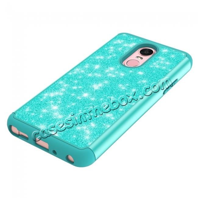 on sale Fashion Glitter Bling Design Dual Layer Hybrid Protective Phone Case for LG Stylo 4 - Teal