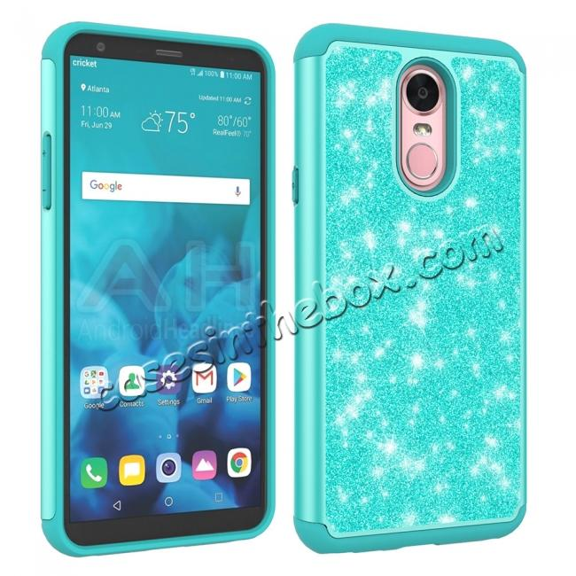 cheap Fashion Glitter Bling Design Dual Layer Hybrid Protective Phone Case for LG Stylo 4 - Teal