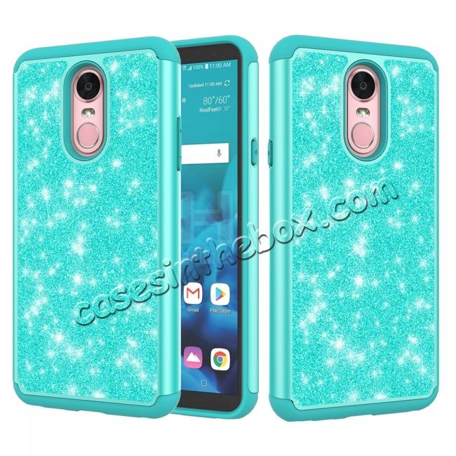 wholesale Fashion Glitter Bling Design Dual Layer Hybrid Protective Phone Case for LG Stylo 4 - Teal
