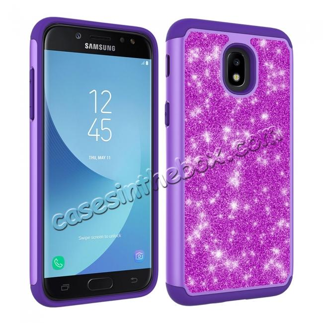 discount Fashion Glitter Bling Dual Layer Hybrid Protective Phone Case For Samsung Galaxy J3 (2018) - Purple