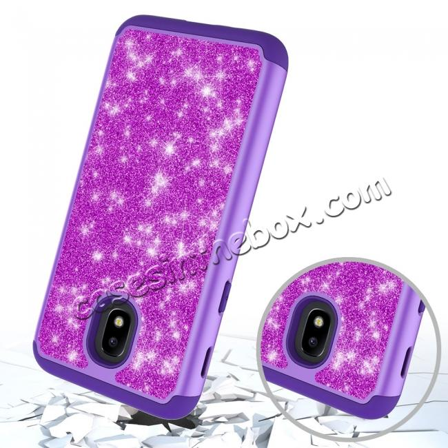top quality Fashion Glitter Bling Dual Layer Hybrid Protective Phone Case For Samsung Galaxy J3 (2018) - Purple