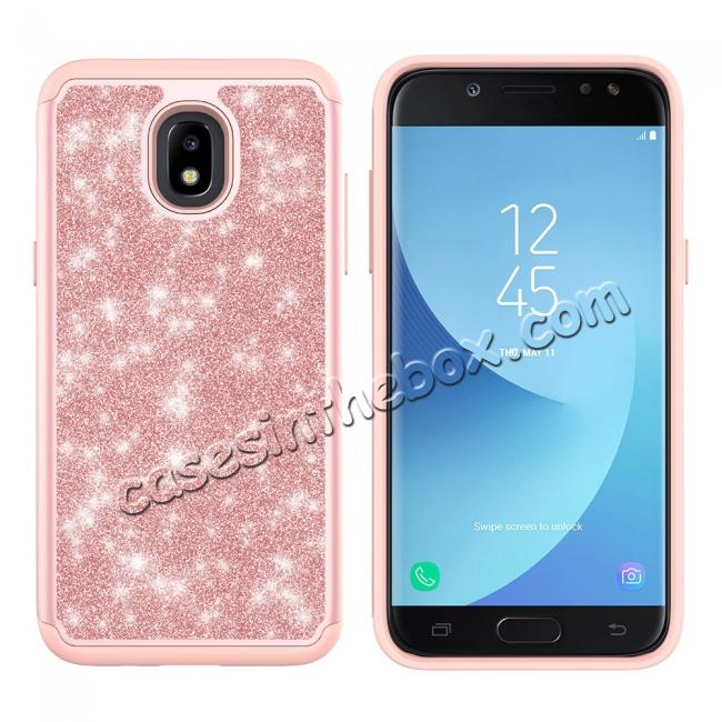 cheap Fashion Glitter Bling Dual Layer Hybrid Protective Phone Case For Samsung Galaxy J3 (2018) - Rose gold
