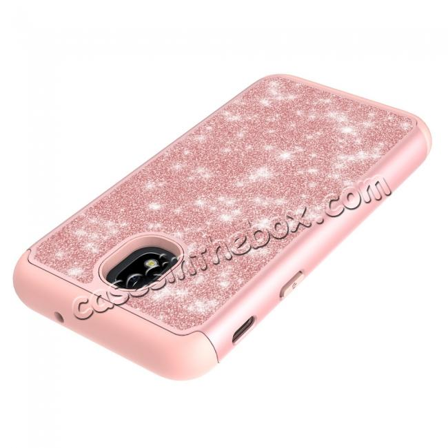 best price Fashion Glitter Bling Dual Layer Hybrid Protective Phone Case For Samsung Galaxy J3 (2018) - Rose gold