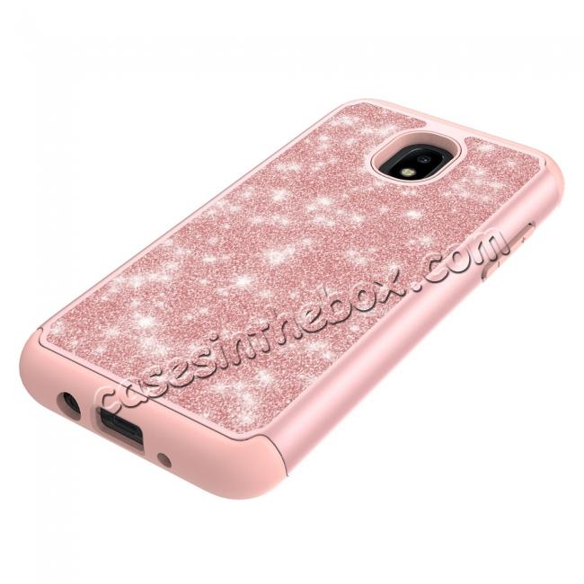 on sale Fashion Glitter Bling Dual Layer Hybrid Protective Phone Case For Samsung Galaxy J3 (2018) - Rose gold