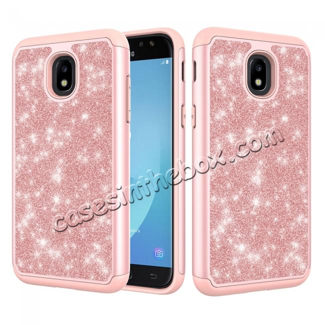 wholesale Fashion Glitter Bling Dual Layer Hybrid Protective Phone Case For Samsung Galaxy J3 (2018) - Rose gold