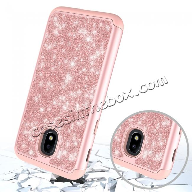 top quality Fashion Glitter Bling Dual Layer Hybrid Protective Phone Case For Samsung Galaxy J3 (2018) - Rose gold
