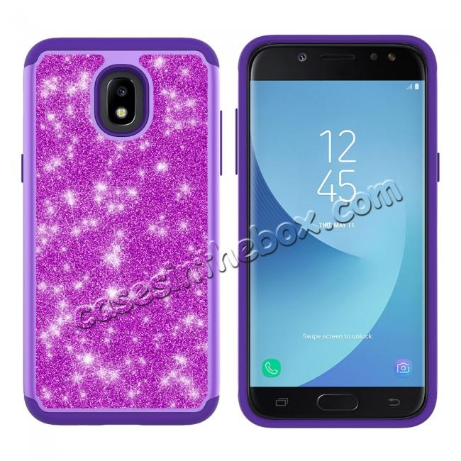 discount Fashion Glitter Bling Hybrid Dual Layer Protective Phone Cover Case For Samsung Galaxy J7 (2018) - Purple