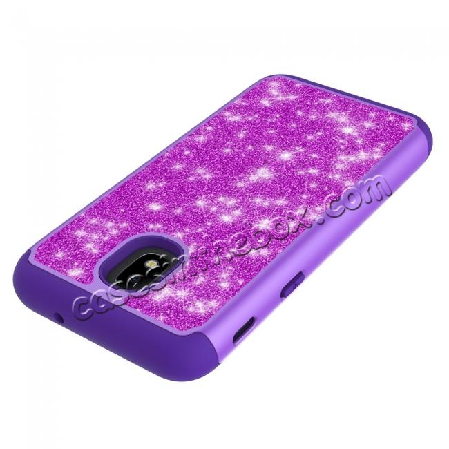 top quality Fashion Glitter Bling Hybrid Dual Layer Protective Phone Cover Case For Samsung Galaxy J7 (2018) - Purple