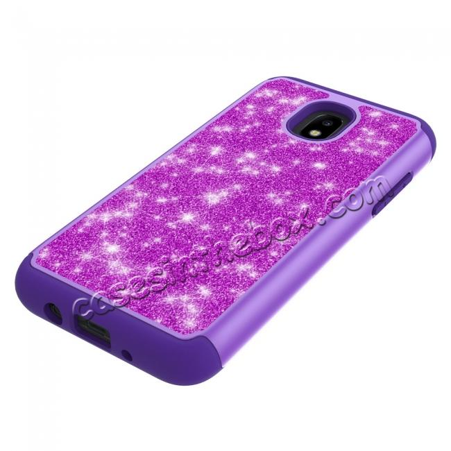best price Fashion Glitter Bling Hybrid Dual Layer Protective Phone Cover Case For Samsung Galaxy J7 (2018) - Purple