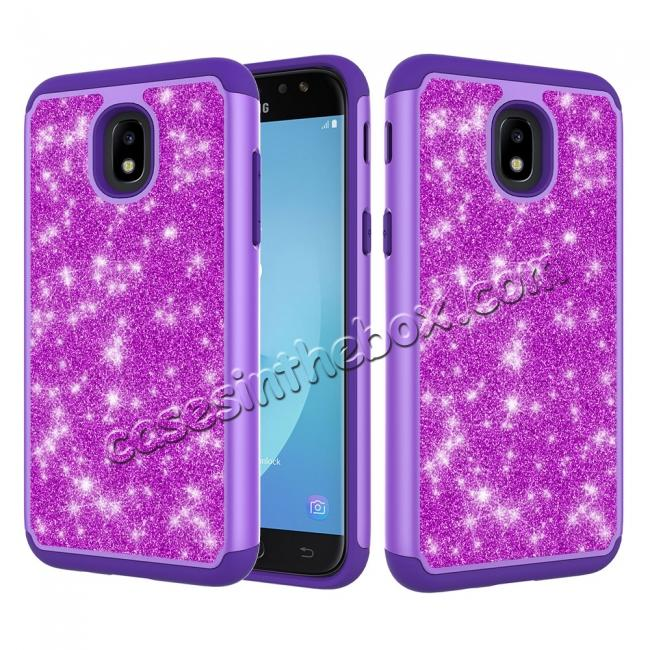 wholesale Fashion Glitter Bling Hybrid Dual Layer Protective Phone Cover Case For Samsung Galaxy J7 (2018) - Purple