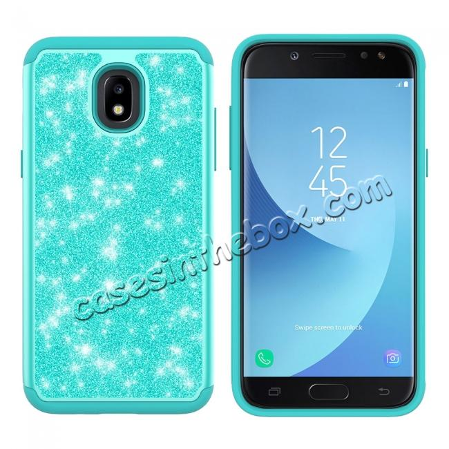 discount Fashion Glitter Bling Hybrid Dual Layer Protective Phone Cover Case For Samsung Galaxy J7 (2018) - Teal