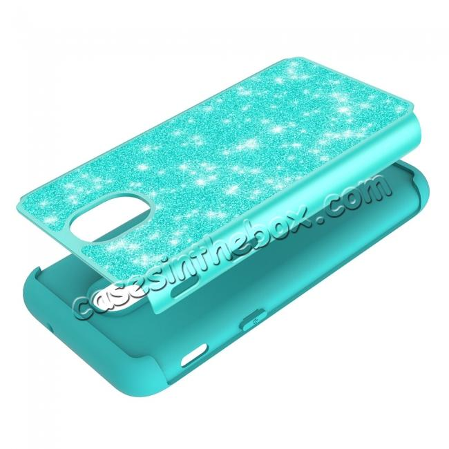 on sale Fashion Glitter Bling Hybrid Dual Layer Protective Phone Cover Case For Samsung Galaxy J7 (2018) - Teal