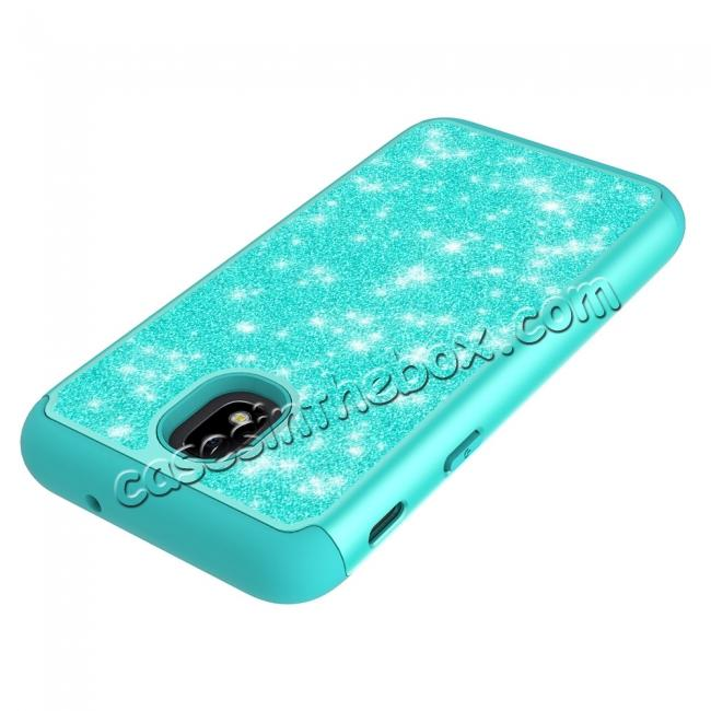 top quality Fashion Glitter Bling Hybrid Dual Layer Protective Phone Cover Case For Samsung Galaxy J7 (2018) - Teal