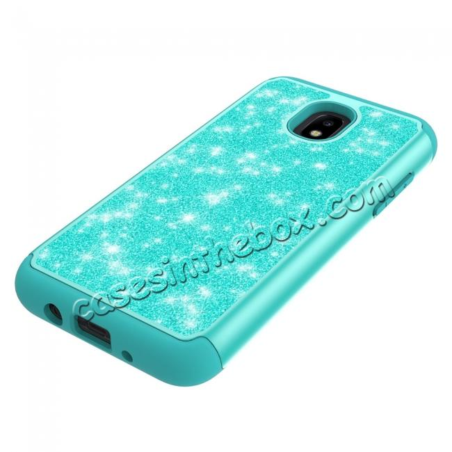 best price Fashion Glitter Bling Hybrid Dual Layer Protective Phone Cover Case For Samsung Galaxy J7 (2018) - Teal