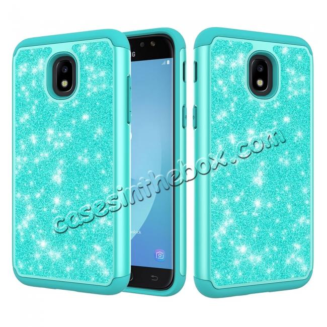 wholesale Fashion Glitter Bling Hybrid Dual Layer Protective Phone Cover Case For Samsung Galaxy J7 (2018) - Teal