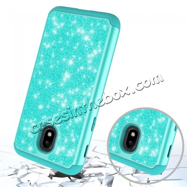 cheap Fashion Glitter Bling Hybrid Dual Layer Protective Phone Cover Case For Samsung Galaxy J7 (2018) - Teal