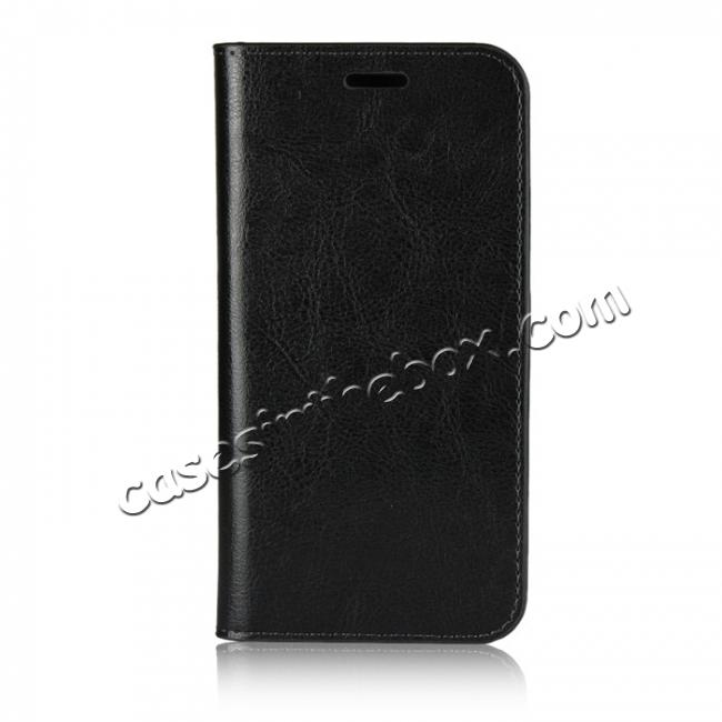 discount For HTC U11 Life Crazy Horse Genuine Leather Case Flip Stand Card Slot - Black