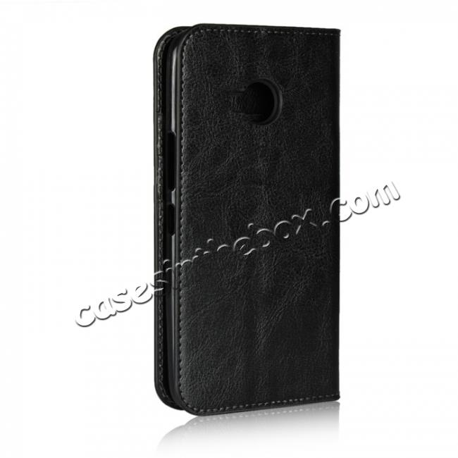 cheap For HTC U11 Life Crazy Horse Genuine Leather Case Flip Stand Card Slot - Black