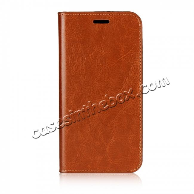 discount For HTC U11 Life Crazy Horse Genuine Leather Case Flip Stand Card Slot - Brown