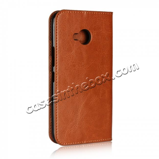 cheap For HTC U11 Life Crazy Horse Genuine Leather Case Flip Stand Card Slot - Brown