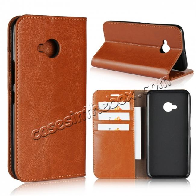 wholesale For HTC U11 Life Crazy Horse Genuine Leather Case Flip Stand Card Slot - Brown