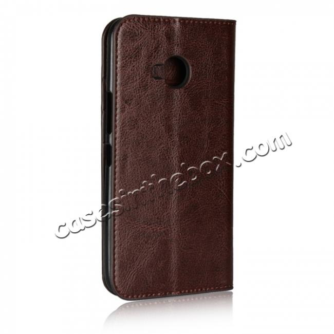 cheap For HTC U11 Life Crazy Horse Genuine Leather Case Flip Stand Card Slot - Coffee