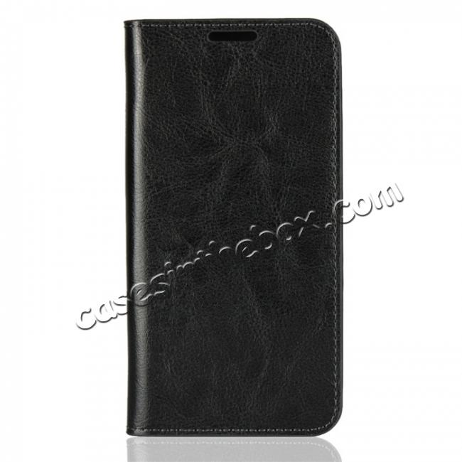 discount For Huawei Honor 10 Lite Crazy Horse Genuine Leather Case Flip Stand Card Slot - Black