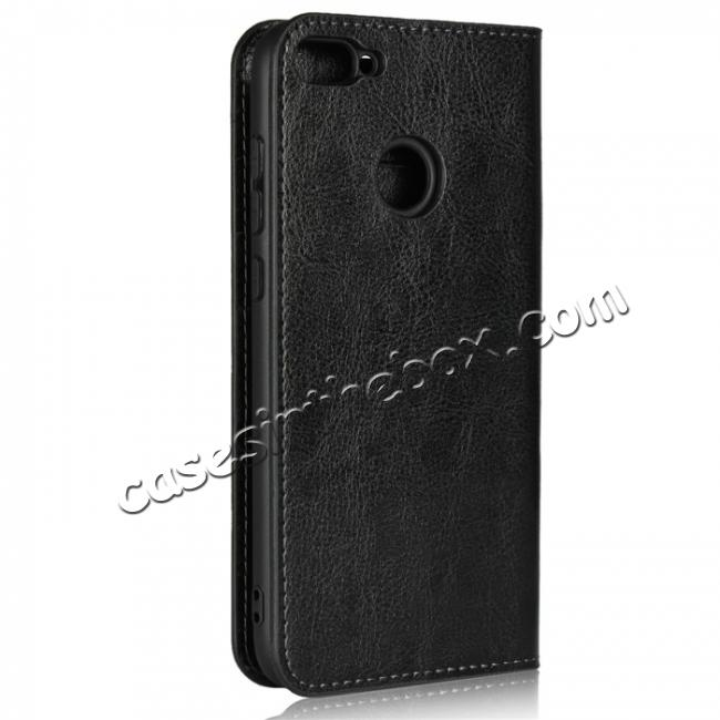 cheap For Huawei Honor 10 Lite Crazy Horse Genuine Leather Case Flip Stand Card Slot - Black