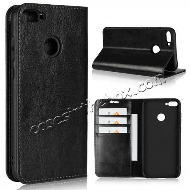 wholesale For Huawei Honor 10 Lite Crazy Horse Genuine Leather Case Flip Stand Card Slot - Black