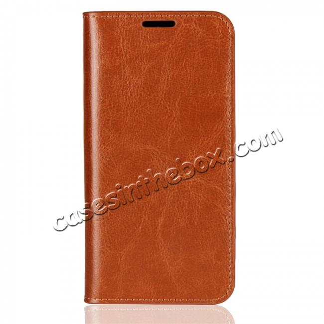 discount For Huawei Honor 10 Lite Crazy Horse Genuine Leather Case Flip Stand Card Slot - Brown