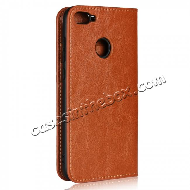 cheap For Huawei Honor 10 Lite Crazy Horse Genuine Leather Case Flip Stand Card Slot - Brown