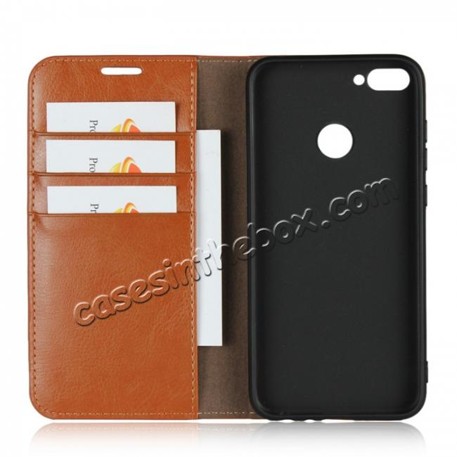 best price For Huawei Honor 10 Lite Crazy Horse Genuine Leather Case Flip Stand Card Slot - Brown