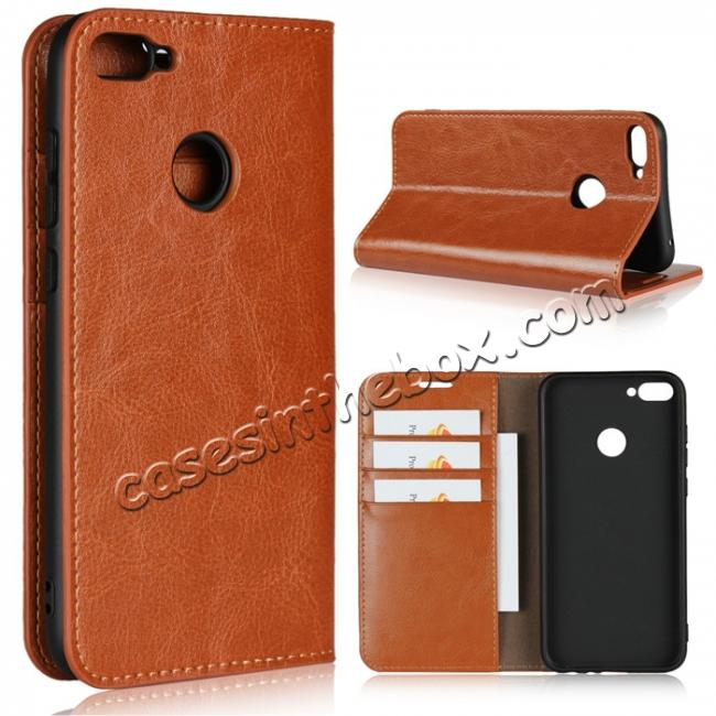 wholesale For Huawei Honor 10 Lite Crazy Horse Genuine Leather Case Flip Stand Card Slot - Brown