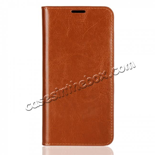 discount For OnePlus 6 Crazy Horse Genuine Leather Case Flip Stand Card Slot - Brown