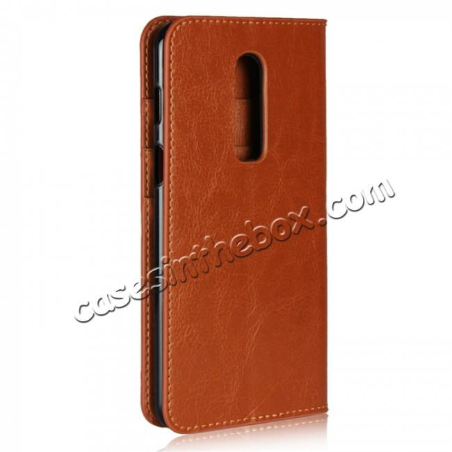 cheap For OnePlus 6 Crazy Horse Genuine Leather Case Flip Stand Card Slot - Brown