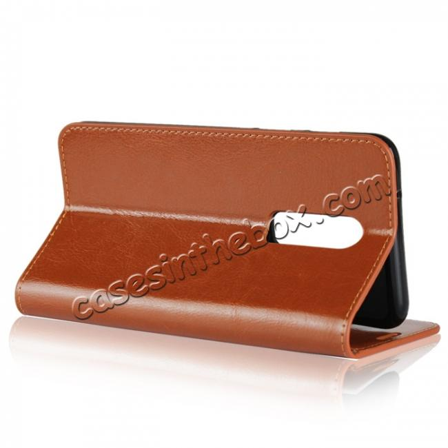 top quality For OnePlus 6 Crazy Horse Genuine Leather Case Flip Stand Card Slot - Brown
