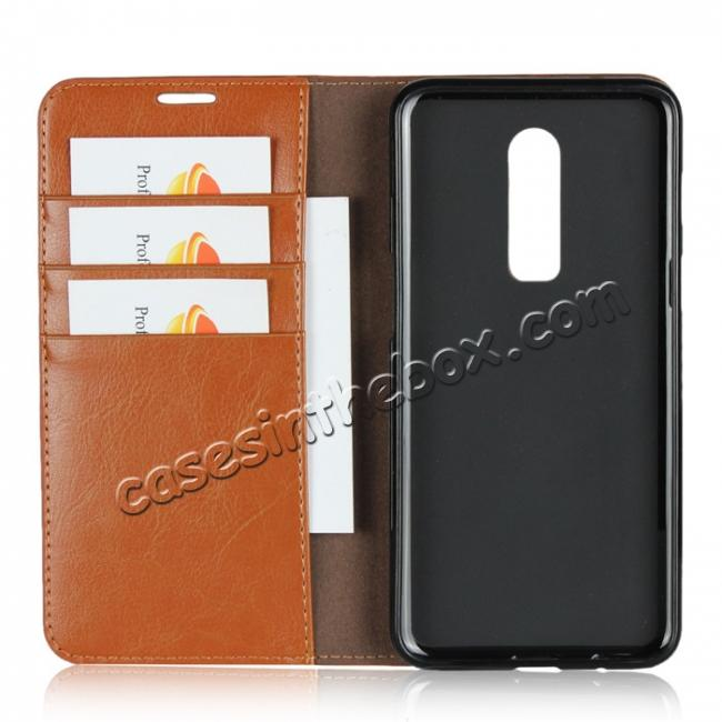 best price For OnePlus 6 Crazy Horse Genuine Leather Case Flip Stand Card Slot - Brown