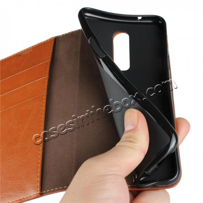 on sale For OnePlus 6 Crazy Horse Genuine Leather Case Flip Stand Card Slot - Brown