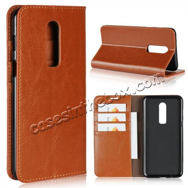 wholesale For OnePlus 6 Crazy Horse Genuine Leather Case Flip Stand Card Slot - Brown