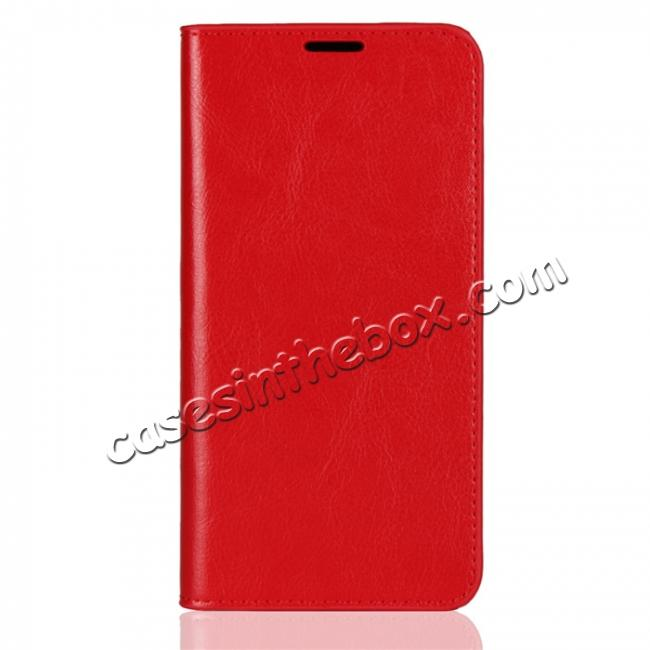 discount For OnePlus 6 Crazy Horse Genuine Leather Case Flip Stand Card Slot - Red