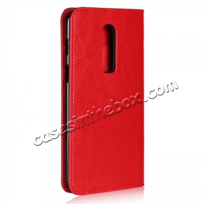 cheap For OnePlus 6 Crazy Horse Genuine Leather Case Flip Stand Card Slot - Red