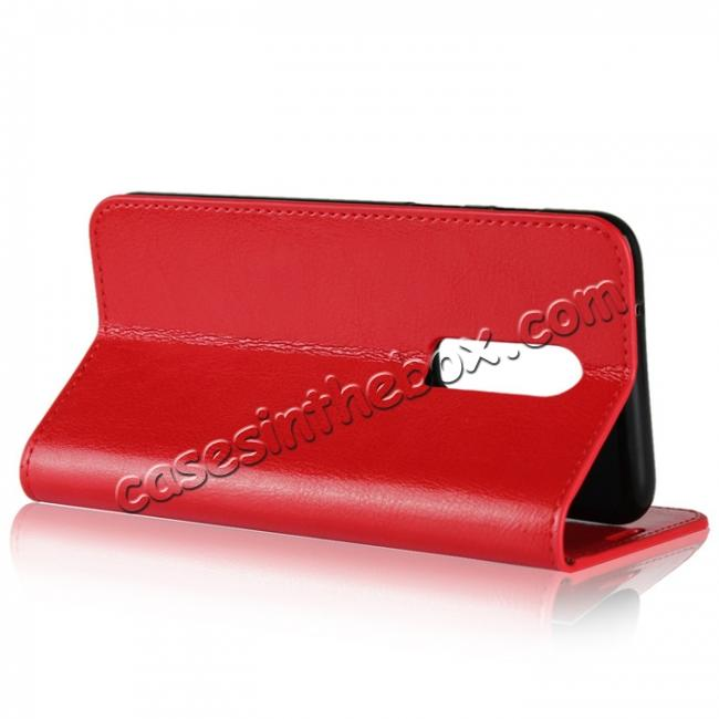 top quality For OnePlus 6 Crazy Horse Genuine Leather Case Flip Stand Card Slot - Red