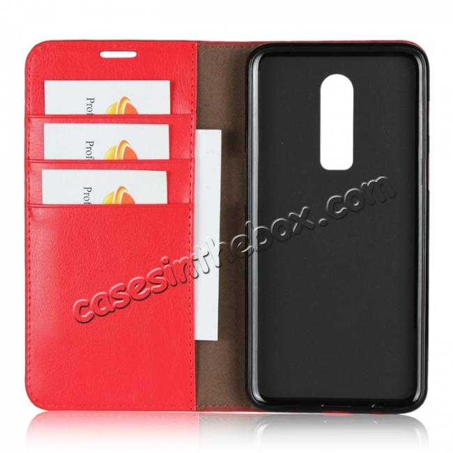 best price For OnePlus 6 Crazy Horse Genuine Leather Case Flip Stand Card Slot - Red