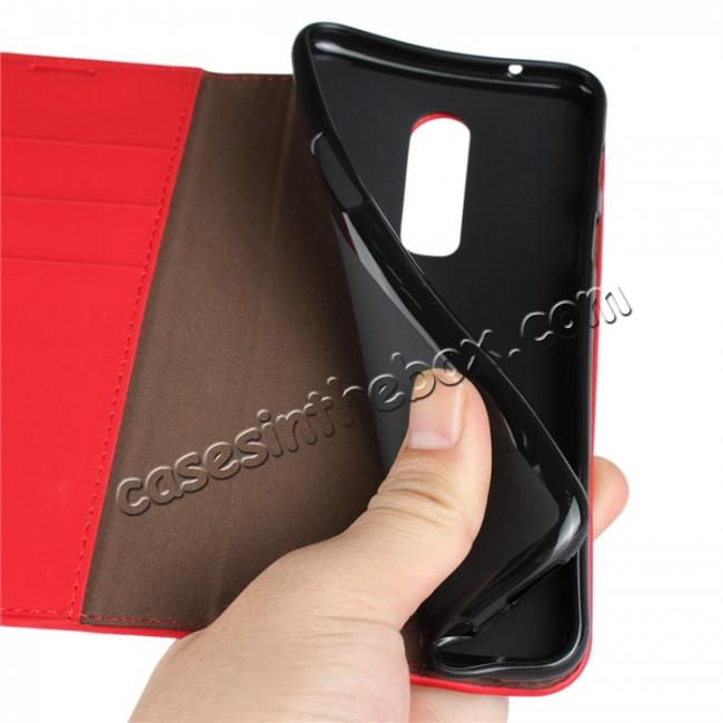 on sale For OnePlus 6 Crazy Horse Genuine Leather Case Flip Stand Card Slot - Red