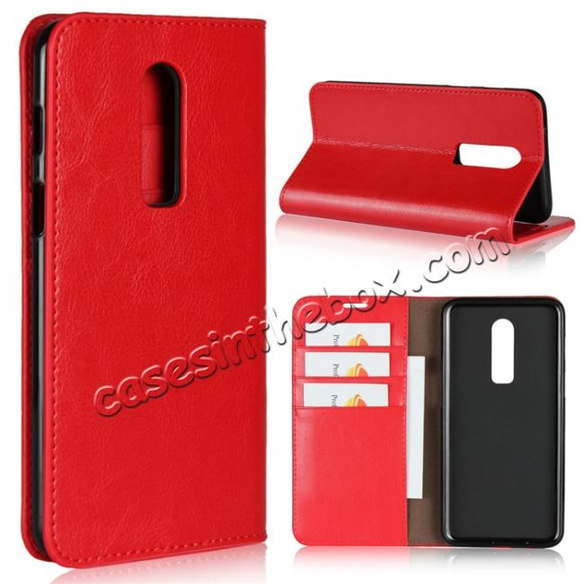 wholesale For OnePlus 6 Crazy Horse Genuine Leather Case Flip Stand Card Slot - Red