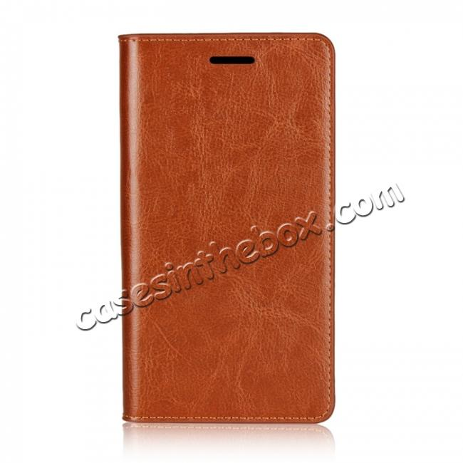 discount For Sony Xperia XZ2 Premium Crazy Horse Genuine Leather Case Flip Stand Card Slot - Brown