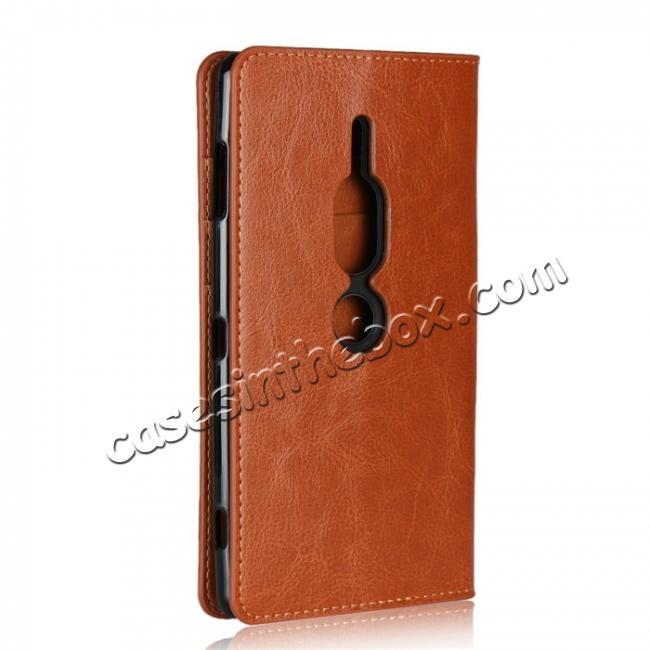 cheap For Sony Xperia XZ2 Premium Crazy Horse Genuine Leather Case Flip Stand Card Slot - Brown