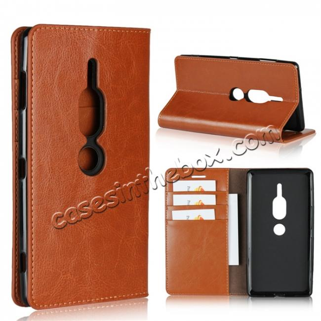wholesale For Sony Xperia XZ2 Premium Crazy Horse Genuine Leather Case Flip Stand Card Slot - Brown
