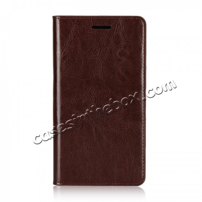 discount For Sony Xperia XZ2 Premium Crazy Horse Genuine Leather Case Flip Stand Card Slot - Coffee