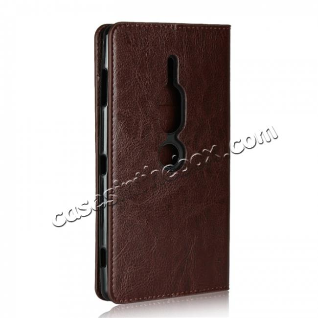 cheap For Sony Xperia XZ2 Premium Crazy Horse Genuine Leather Case Flip Stand Card Slot - Coffee